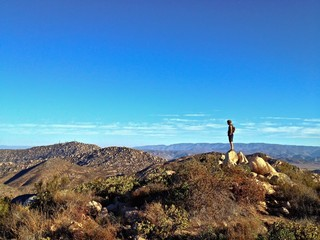 Lone Hiker on Mountain Summit, Iron Mountain, Poway, California