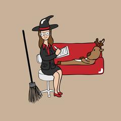 Witch psychiatrist reindeer cartoon