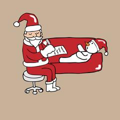 Santa psychiatrist and snowman