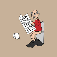 Old man in toilet and newspaper