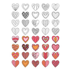 Set of hand drawn heart symbols