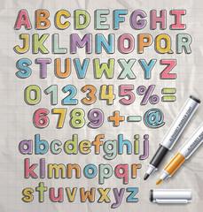 Alphabet marker colorful doodle font style. Vector illustration.