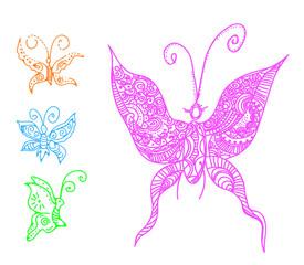 butterflies in tattoo style