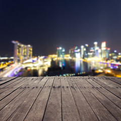 wooden board and cityscape of singapore