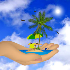 Sea ​​island with palm in a female hand. Vector