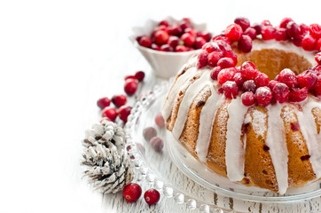 Homemade glazed cranberry cake with fresh berries  copy space