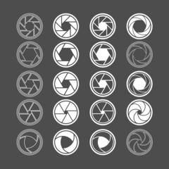 camera shutter icon set, vector eps10