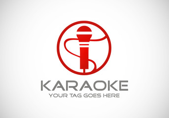 karaoke microphone icon vector logo