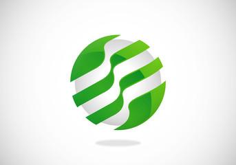 round sphere communication technology vector logo