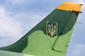 Old painted ukrainian trident