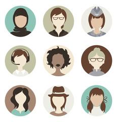 Set illustrations -- abstract female avatars