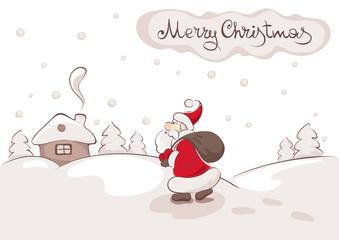 Vector illustration - Santa with bag