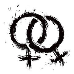 Grunge lesbians couple symbol