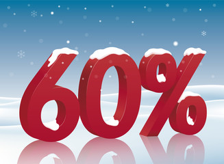 60% discount symbol with snow. Poster to advertise sales