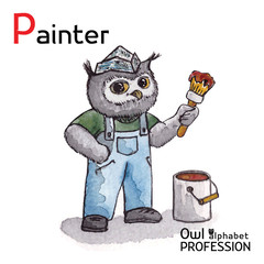Alphabet professions Owl Letter P - Painter character Vector