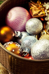 Colorful vintage christmas balls in copper