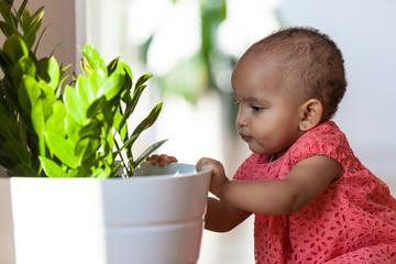 Portrait of little African American little girl smiling - Black