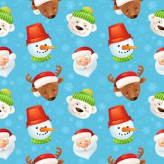 Christmas characters seamless pattern