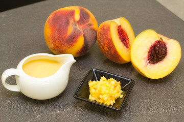 peach fruit, pulp and peach cream for some gourmet recipe
