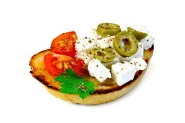 Sandwich with feta and olives