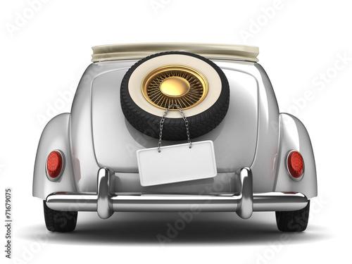 canvas print picture Vintage white bridal car