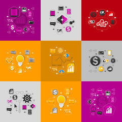 Set of sticker design. High-tech business concept