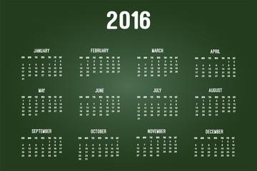 Calendar Of Year 2016 On Green Chalkboard