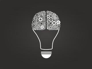 Light Bulb Idea With Cogs And Gears Brain On Blackboard