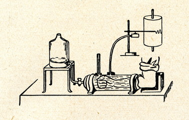 Water plethysmography of an extremity ca. 1930
