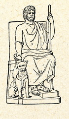 Pluto, greek god of underworld, with his dog Cerberus