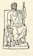Pluto, greek god of underworld, with his dog Cerberus