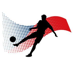 czech soccer player against national flag