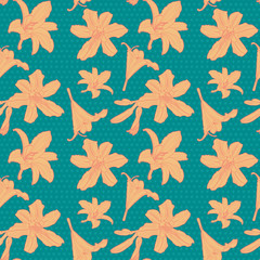 Seamless vintage floral pattern with orange lily