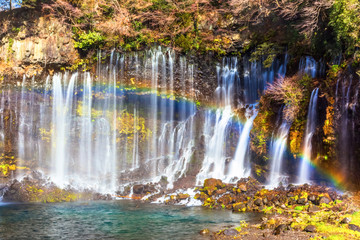 Shiraito no Taki waterfall with rainbow