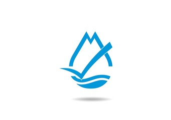 mountain blue clean water check mark vector logo
