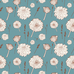 Seamless vintage blue floral pattern with white aster