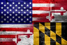 """Постер, картина, фотообои """"USA and Maryland State Flag painted on old wood plank texture"""""""