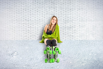 Blonde girl with rollerblade over textured background