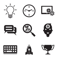 Business SEO social media marketing silhouette isolated icons