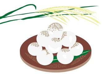 月見団子の和菓子とすすきの穂