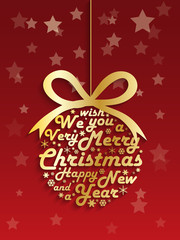 MERRY CHRISTMAS and a HAPPY NEW YEAR Card (bauble gold)