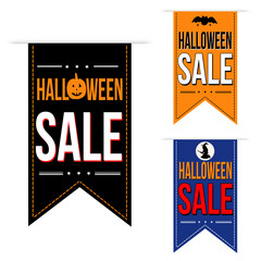 Halloween sale banner design set