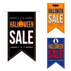 Halloween sale banner design set