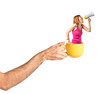 Redhead girl shouting with a megaphone inside cup of coffee