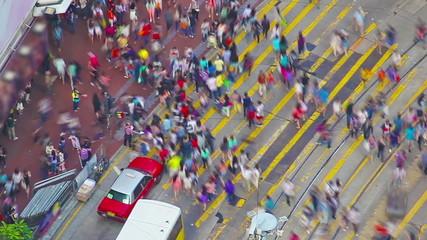 Timelapse video of a busy crosswalk in Hong Kong