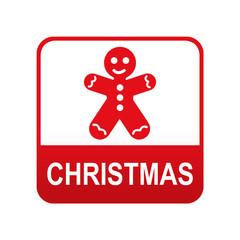 Etiqueta app abajo CHRISTMAS con hombre de jengibre