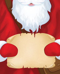 Vector  Santa Claus postman holding scroll.