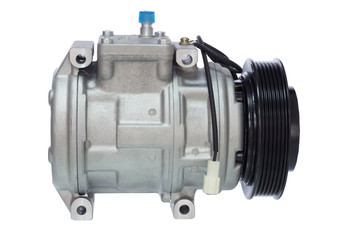 automotive air conditioning compressor on a white background