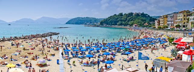 crowded beach in Lerici, Italy