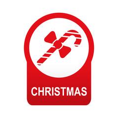 Etiqueta abajo redonda texto CHRISTMAS con baston de caramelo